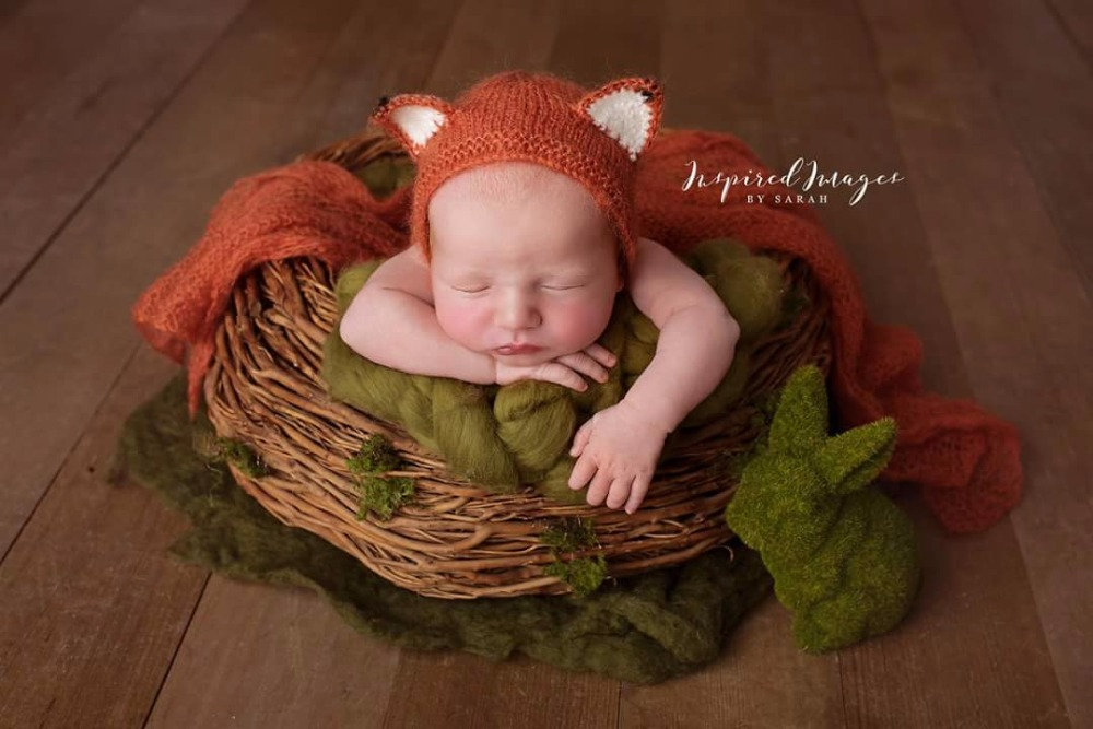 Baby mohair stretch wrap photo props,newborn Fox Hat With Matching Wrap, Baby Scarf Photography Props newborn baby pants with bear hat set knitted pants newborn photo props baby photography props baby rompers