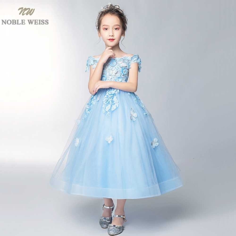 NOBLE WEISS Pageant   Dresses   for   girls   Formal Customize New Style Appliques Beading Lace Sexy Blue   Flower     Girl     Dress