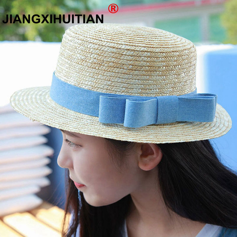 wholesale sun flat straw hat boater hat girls bow summer Hats For Women  Beach flat panama 63ae18dda72a