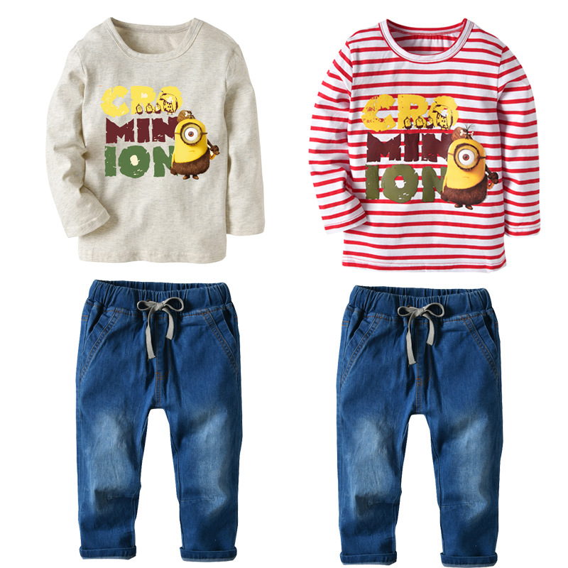 6 8 Year Boys Clothes Set Autumn Cartoon T-shirt Jeans Two-piece Cotton Kids Boy Clothing Sets Long Sleeve Winter Children Suit kimocat boy and girl high quality spring autumn children s cowboy suit version of the big boy cherry embroidery jeans two suits