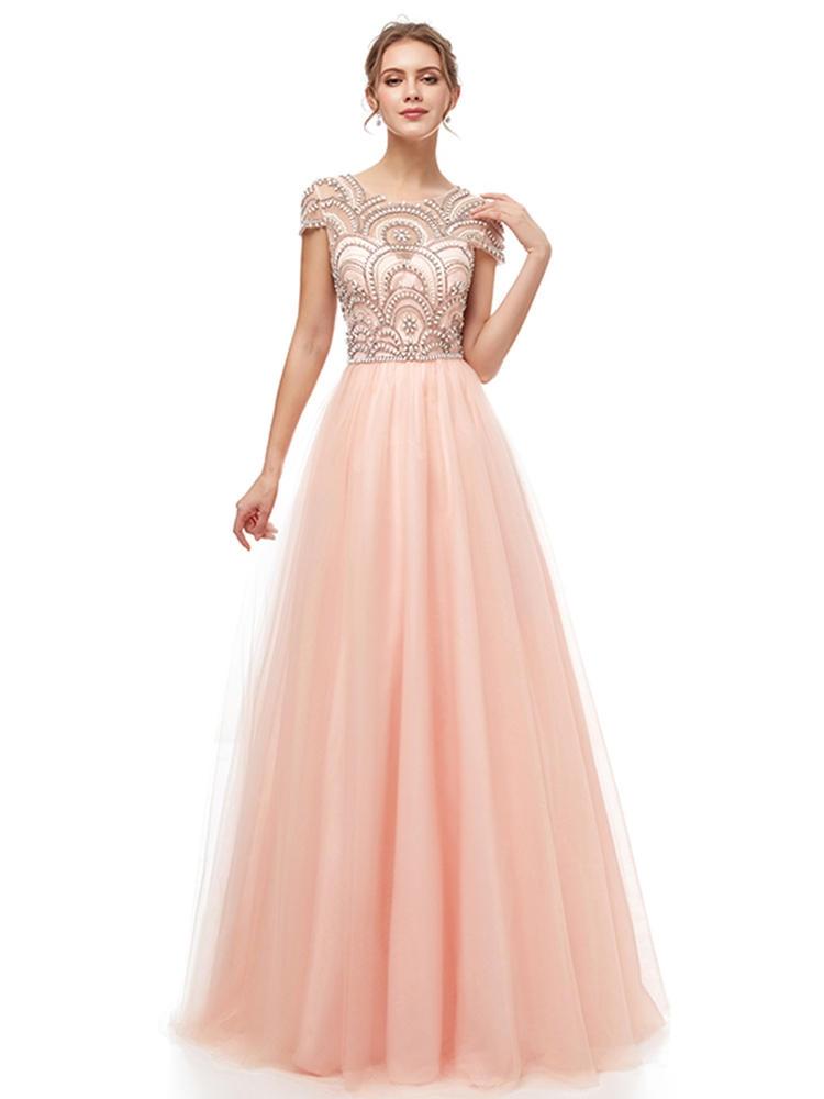 Evening-Dresses Beading Party-Gown Cap-Sleeve Robe-De-Soiree Tulle Formal Elegant Long
