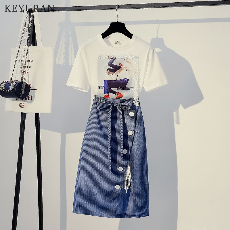 Plus Size L-4XL Female White Print Cotton T Shirt Tops and Striped Skirt 2 Piece Set Casual Summer Outfits for Women 2019 L3454