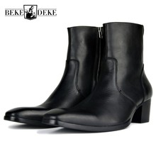 f2812a9f042 Runway Mens Mid Calf Cowboy Boots Gothic Block Med Heels Riding Shoes  Office Man Real Leather