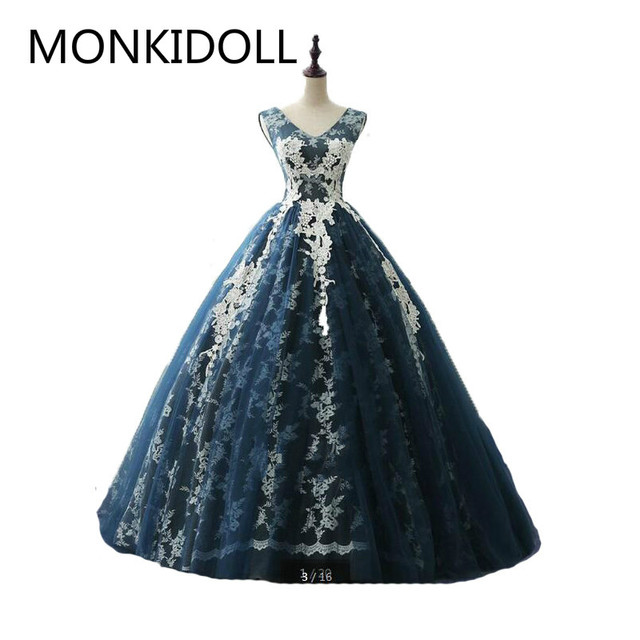 c638e8efd912 2017 hot sale ball gown cap sleeve lace appliques prom dress real picture v  neckline princess formal prom gowns hot sale