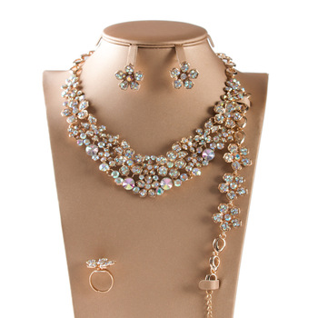 Necklace Set Jewelry Gold AB Color Wedding Bridal