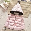 Winter Baby Girls Cotton Down Solid Bow Hooded Kids Infant Parkas Princess Style Snow Wear Outerwear Coat casaco roupas de bebe