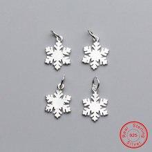 Uqbing 14*12*1 мм Стерлинговое Серебро 925 Подвеска в виде снежинки