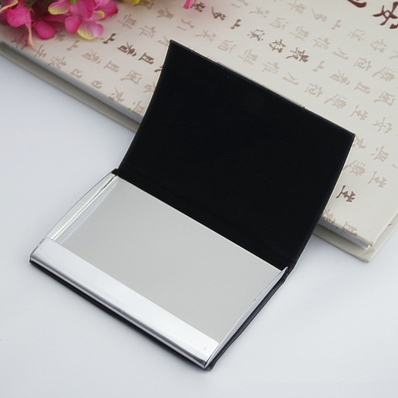 25x Custom Logo Personalized Metal Business Card Holder Case Leather ...