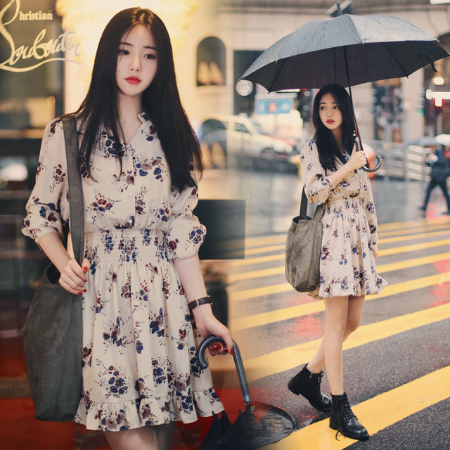 2018 New Spring Loose Long Sleeve Print Single Button Up Dress