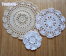 10/15/20cm NEW lace cotton table place mat crochet coffee placemat pad Christmas drink coaster cup mug tea dining doily kitchen