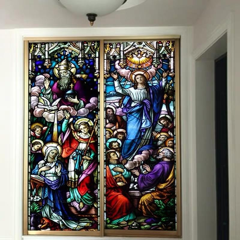 Изготовление размеров под заказ оконная пленка наклейка на крышку Кристиан настенные Стикеры для картин Стекло Декор церковь Иисус самоклеящаяся цветное плакат|Христианские открытки и картины| | АлиЭкспресс