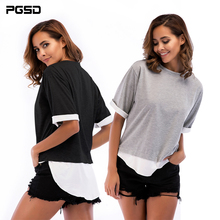PGSD 2019 New Summer Simple Fashion Big size Pure color Women Clothes round collar short sleeves stitched T-shirt female Top Tee