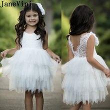 3d4441d55 JaneVini de niveles de la rodilla-longitud de las flores con perlas tul  blanco comunión vestido niñas vestido de noche Vestidos .
