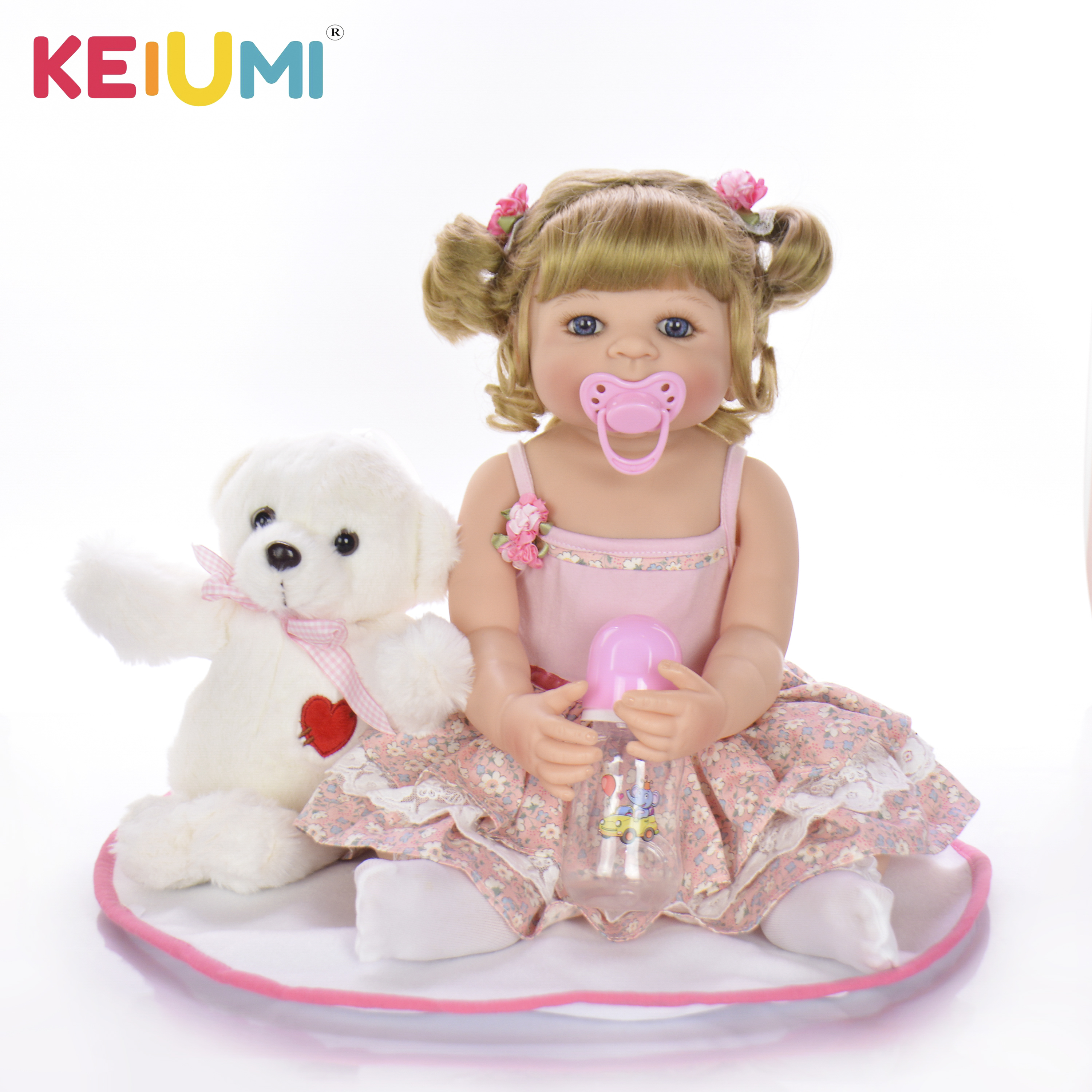 KEIUMI 22 Inch Silicone Baby Dolls Lifelike 55cm Full Body Baby Reborn Girl Doll DIY Toy