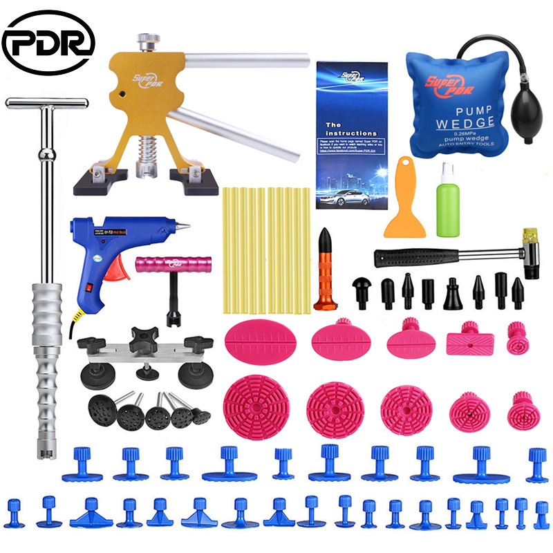 PDR Car Repair Tool Set Bod Removal Tool Set Dent Puller Set Slide Hammer Glue Gun Bridege Puller For Any Car Dent Repair
