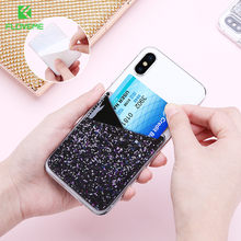 FLOVEME Phone Wallet Caser Credit ID Card Holder Pocket Stick on 3M Glitter Fashion Marble Card Holder Sticker For iPhone 7 6 X(China)