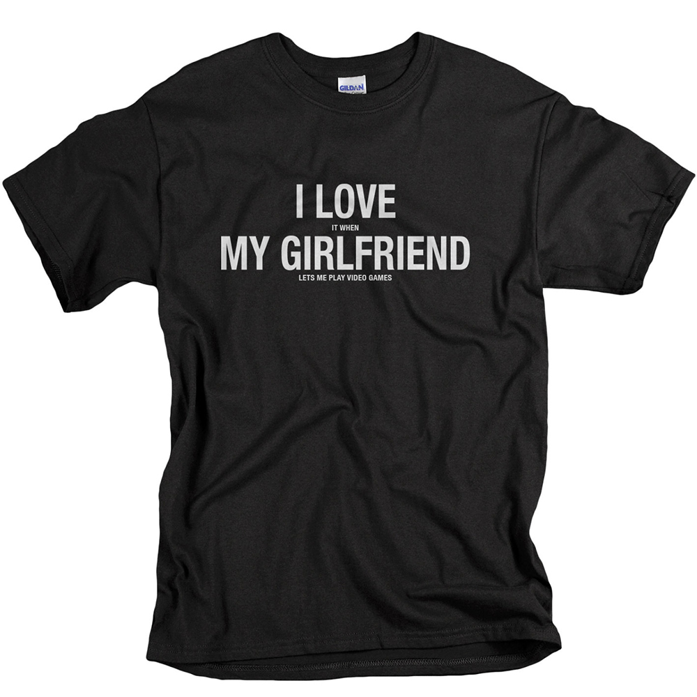 EnjoytheSpirit Men T-shirts Anniversary Gifts for Boyfriend Letter I Love It When My Girlfriend Lets Me Play Video Games