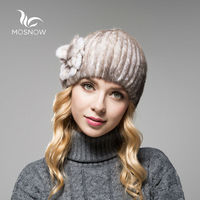 MOSNOW New 2016 Mink Fur Ladies Hat Winter Flower Solid High Quality Fashion Warm Casual Female