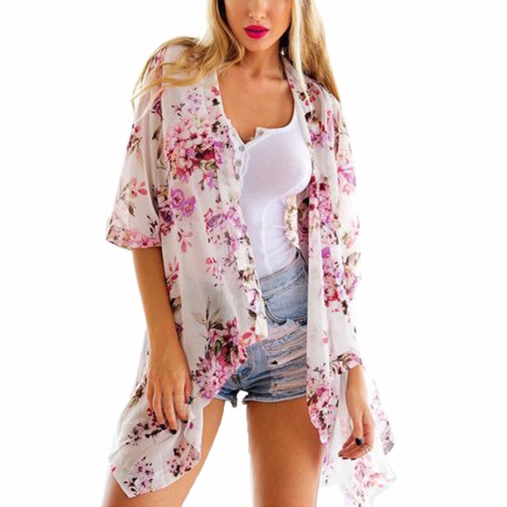 Summer Printed Floral Cover up Sexy Bathing Suit Chiffon Swimwear Beach Outwear Plus Size Tops Clothing