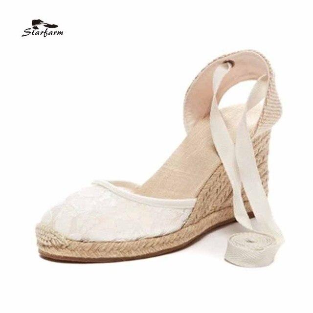 STARFARM Femmes Espadrilles Ivoire Dentelle Talon Compensé Chaussures  Sandales Chaussure Femme