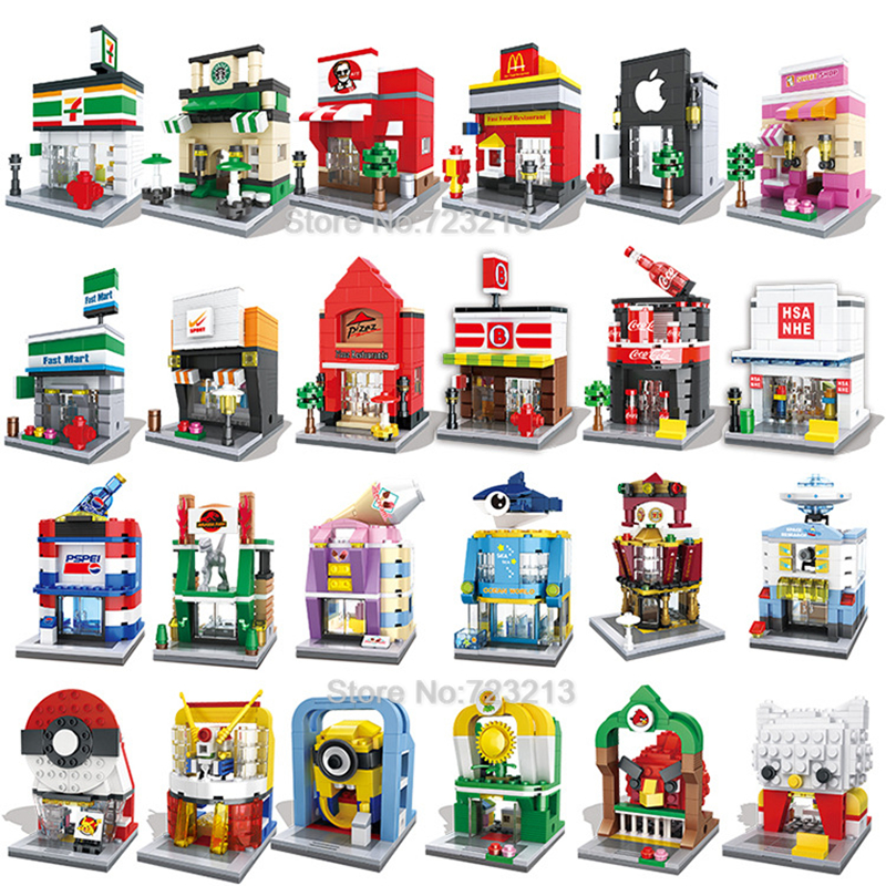 Mini City Street 3D Retail Store Aquarium Cafe Poke Ball Apple Cartoon Ice Cream Pizza Shop MOC Educational Building Blocks Toys