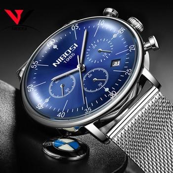 e8bd4e3e9aaa Relojes para hombre NIBOSI marca superior de lujo a prueba de agua reloj de  fecha ultrafino correa de acero para hombre reloj de cuarzo Casual reloj de  ...