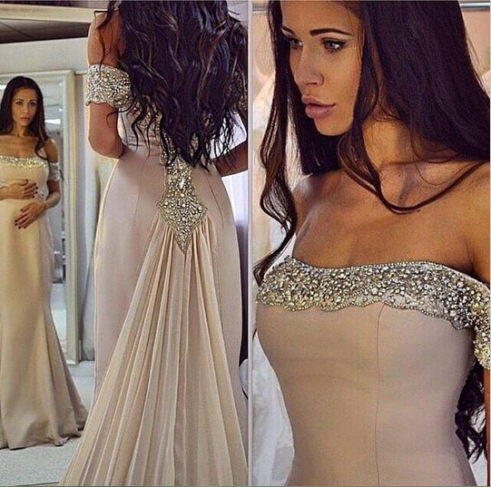 Sparkling Off The Shoulder Prom Dresses 2016 Chiffon Mermaid Evening Dresses Beads Arabic Custom Made Cheap Party Prom Gowns