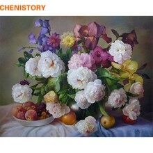 Chenistory diy flor de la pintura al óleo by numbers living room decor óleo de la lona pintada a mano pinturas wall art flower arrangement