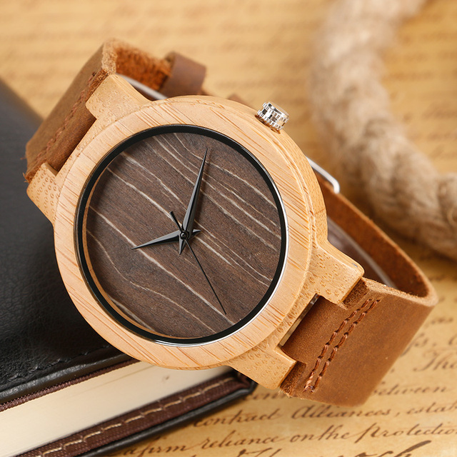 Casual Nature Wood Wristwatches Men Women Hour Genuine Leather Strap Bamboo Pattern Modern Novel Simple Relojes Mujer Grandes