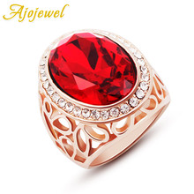 Ajojewel Superior Quality Austria Big Crystal Stone Female Wide Ring 2018 New Style For Christmas Gift