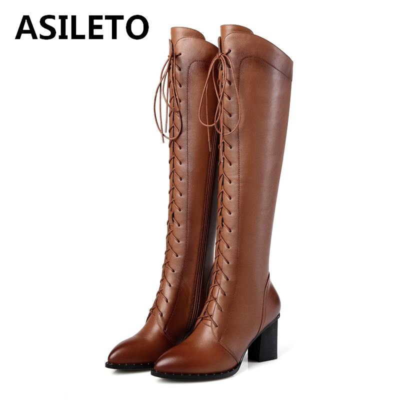 ASILETO genuine leather boots Women Lace Up Riding motorcycle Boots Knee High Boots Zipper autumn Winter Shoes woman botte  A779ASILETO genuine leather boots Women Lace Up Riding motorcycle Boots Knee High Boots Zipper autumn Winter Shoes woman botte  A779
