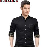 Dudalina 2017 New Male Men Shirts Male Long Sleeved Solid Color Cotton Slim Fit Men S