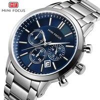 MINI FOCUS Fashion Men Watches 2019 Luxury Brand Stainless Steel Men's Watches Quartz Watches Men Waterproof Silver Watch Men