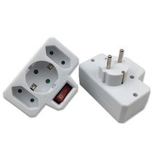 2PCS European Type Conversion Plug 1 TO 3 Way EU Standard Power Adapter Socket 16A Travel Plugs With Switch travel adapter power plug type h israel 3 pin standard