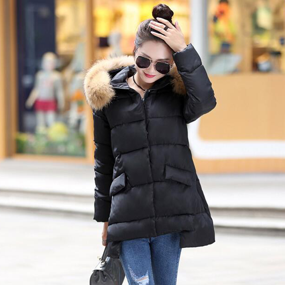 Women's down jacket 2016 fur collar Hooded Outwear Thick warm fashion down coat Overcoat Female winter Jacket Coats Women Parka