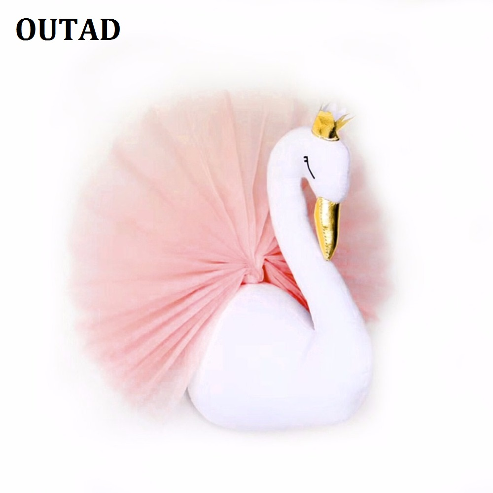 OUTAD Cute 3D Golden Crown Swan Wall Art Hanging Girl Swan Doll Stuffed Toy Animal Head Wall Decor For Kids Room Birthday Gift