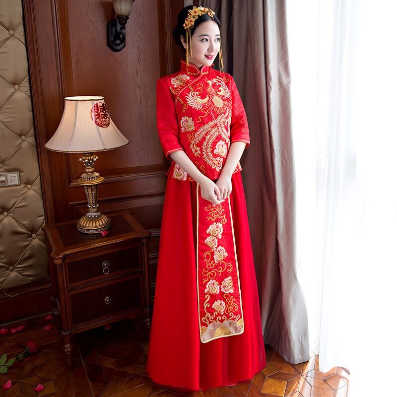 bride wedding dress Traditional chinese style costume Phoenix cheongsam Embroidery clothing Luxury ancient Royal Red Qipao gown 03 red gold bride wedding hair tiaras ancient chinese empress hat bride hair piece