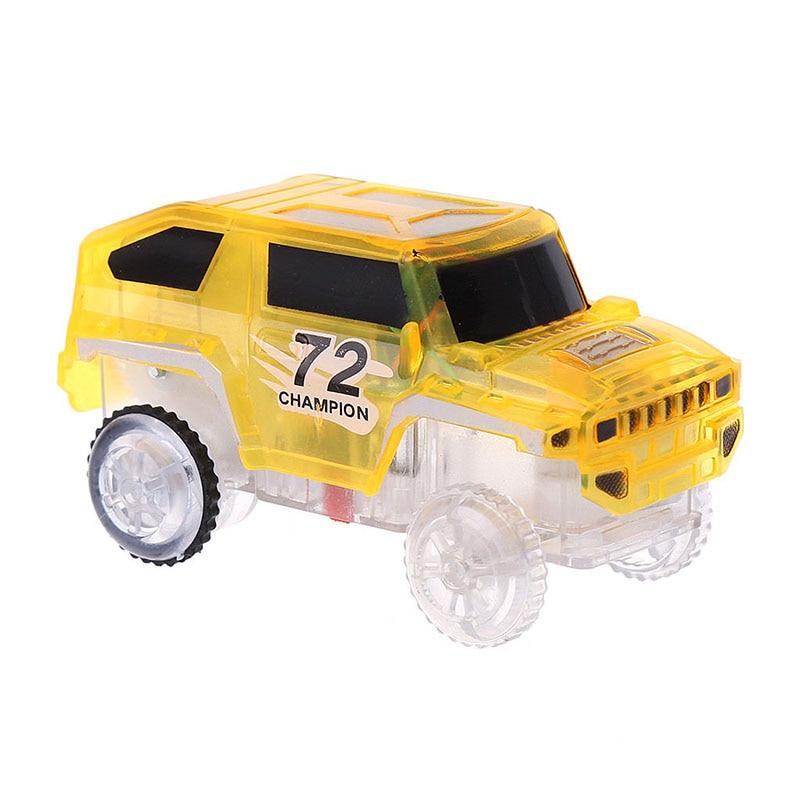 1X Kids LED Light Up Cars For Magic Tracks Electronics Car Toy Glowing Race Car