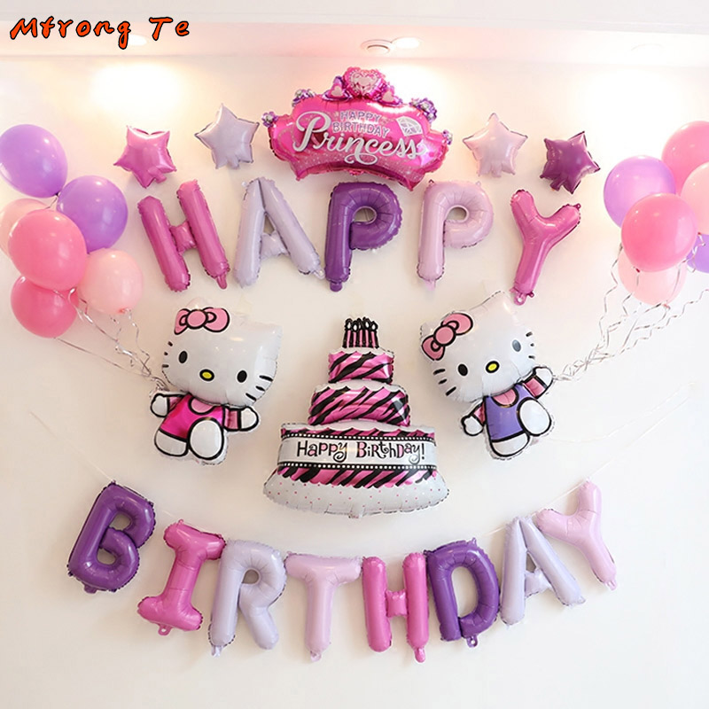 34pcs Lot Hello Kitty Birthday Party Balloons 16inch Letter Foil