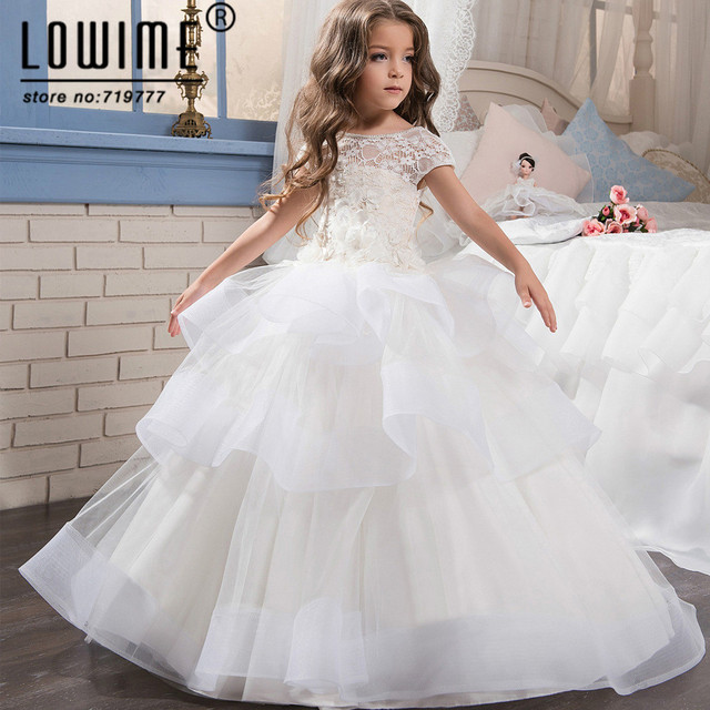 White Ball Gown Flower Girl Dresses Beautiful Girls Pageant Dresses ...