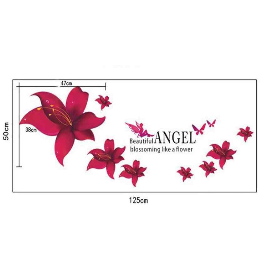 קיר מדבקת רקע חדר שינה סלון חם אדום לילי פרח קיר מדבקות להסרה מדבקות בית תפאורה DIY פשוט חדש Apr19