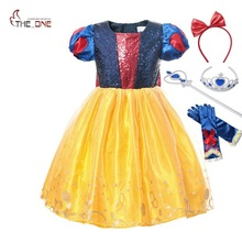 MUABABY Girls Snow White Dress Up Clothes Puff Sleeve Sequined Backless Bow Princess Costume Halloween Kids Party Cosplay Dress