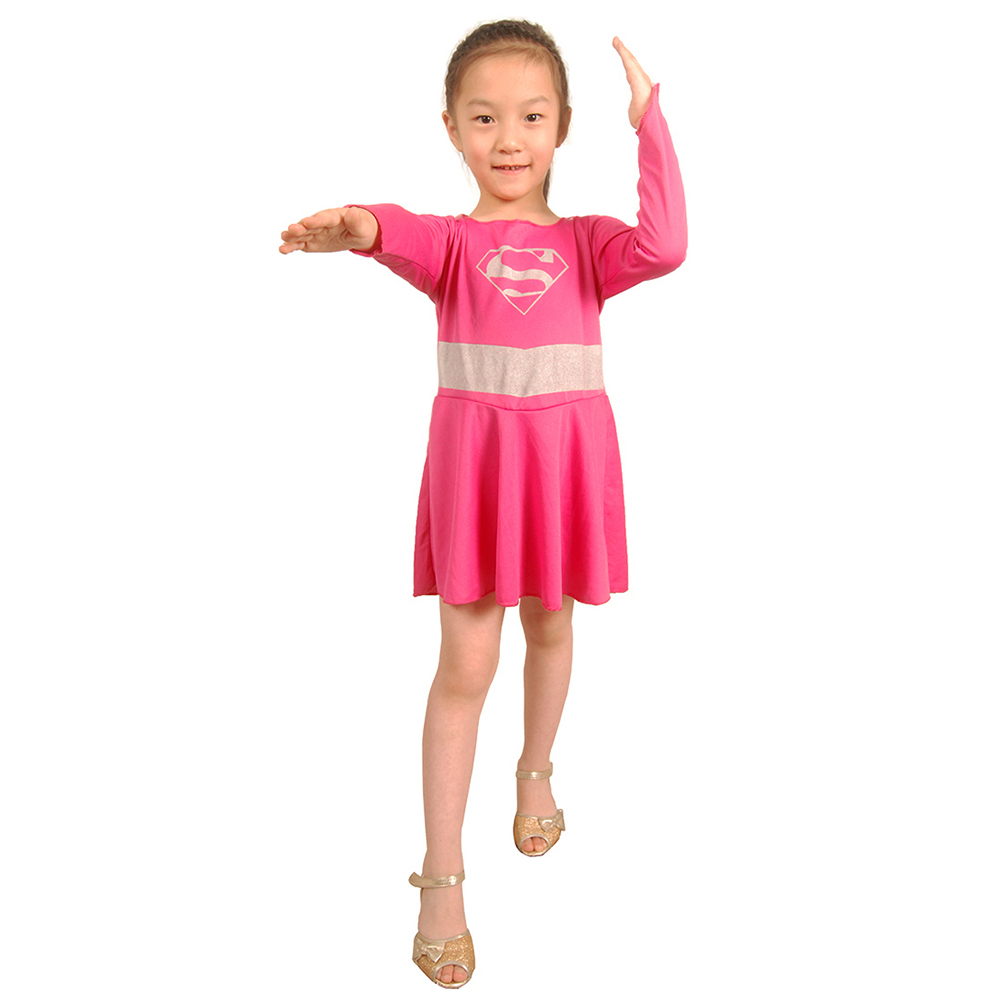 pink supergirl costume for kids girl superhero costumes dress with cloak super girl halloween fancy dress 4t 6t clearance - Clearance Halloween Costumes Kids