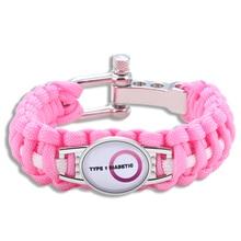 Hyung Pune Adjustable Pink Type 1 Diabetic Medical Alert Paracord Bracelet Survival Bracelet For Men Women xmd042