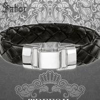 mens Cuff Bracelet Woven Leather with Spring Crap 2019 New 925 Silver Fashion Jewelry Punk Gift Men Women Bransoletka jewellery