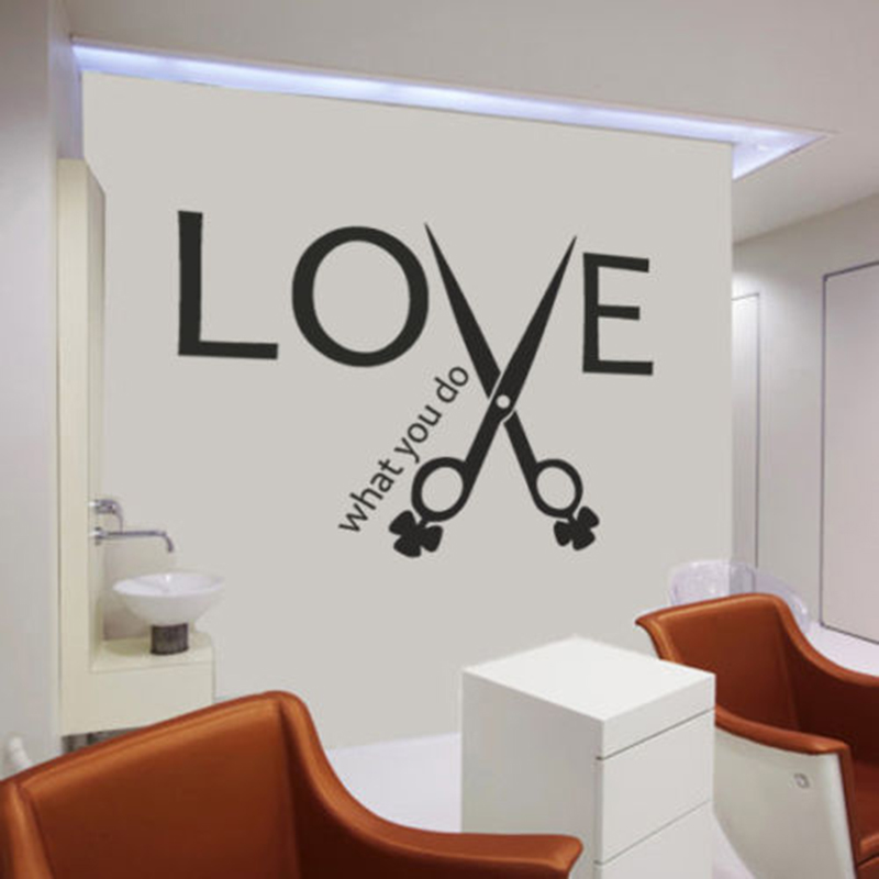 Inspiring Quotes LOVE Scissors Wall Sticker Hair Stylist Salon Quote Barbershop Decor Wall Decal Living Room Home Decorate Z921