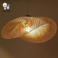 Бамбук плетеная из ротанга волна тени подвесной светильник ручной работы Винтаж деревенский японский подвесной светильник для обеденный с