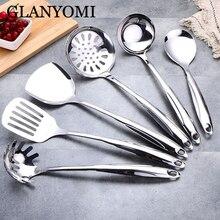 Набор инструментов для приготовления пищи из нержавеющей стали, лопатка, термостойкая ручка, ложка для супа, антипригарная специальная кухонная лопатка, кухонные инструменты