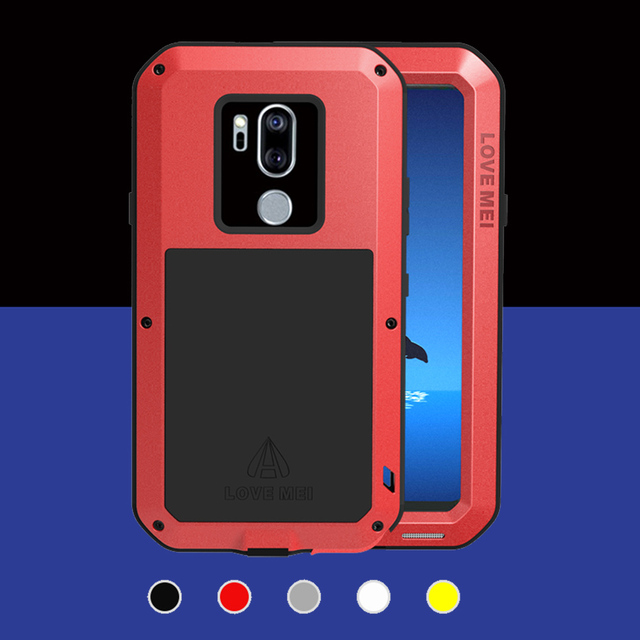 For LG G7 ThinQ Case Luxury Silicone Metal Armor Shockproof Phone Shell +  Tempered Glass Film G710 6 1'' Cover