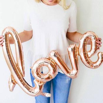 1pc list miłosny balon foliowy rocznica zdjęcie ślubne rekwizyty tło różowe złoto miłość balony walentynki strona dekoracji tanie i dobre opinie WDINPATY Folia aluminiowa Dom ruchome Emeryturę Dzień ziemi THANKSGIVING St Świętego patryka Prima aprilis Chiński nowy rok